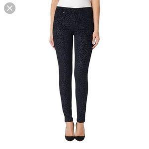Hudson Black Velvet High Waisted Leopard Jeans